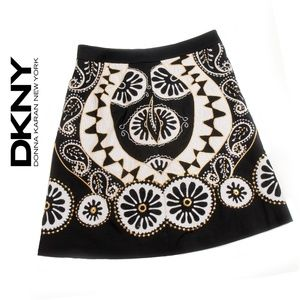 DKNY Black White Metallic Embroidered Pencil Skirt